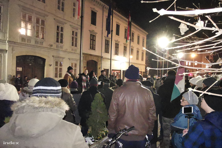 "Reader's photo of the Sopron protest attended by approximately 150 people. Protesters there said they are no longer ""simply against the Slave Law, this is about Orbán's dictatorship""."