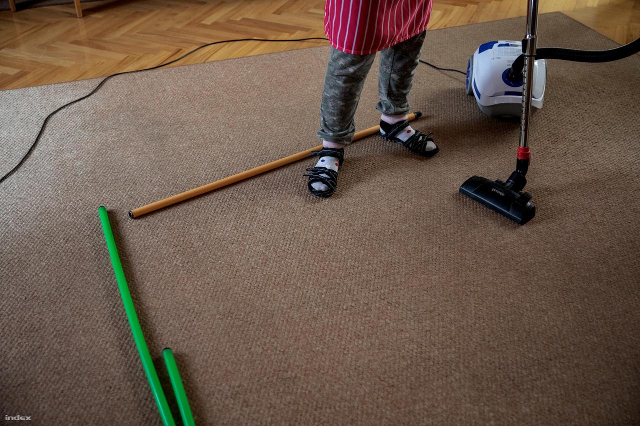 """Kinga kedvenc háztartási tevékenysége a porszívózás. A segítők színes botokat tesznek le, ezzel jelezve, hogy melyik területen kell végezni a feladatot. Ha a szőnyegnek a kijelölt része már tiszta, a botokat átpakolják és egy újabb szakasz következik.Alapvető kihívás a rugalmas viselkedésszervezés: nehézséget jelent a napi beosztás, idő és cselekvés összehangolása. """"Van olyan jó képességű autista, aki képes excellben megszervezni a napját. Az ehhez való ragaszkodás aztán egyénileg változik,ahogy az is, mennyire viseli el a változást"""" – mondja Schenk Erika."""