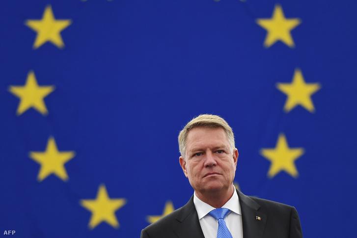 Klaus Werner Iohannis románia elnöke az Európai Parlamentben 2018. október 23-án
