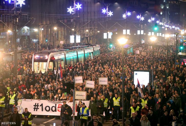 Kormányellenes demonstráció Belgrádban 2018. december 22-én