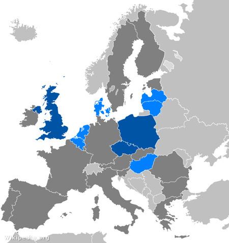 Kilenc (kékkel jelölt) ország EP-képviselőiből áll össze az ECR, a sötétkékkel jelölt tagállamok több képviselője is tagja az ECR-nek.