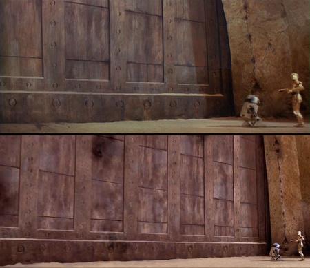 Jabba palotájának régi és új bejárata - Klikk az óriásméretért!