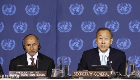 Musztafa Muhammed Abdel Dzsalíl és Ban Ki Mun ENSZ főtitkár
