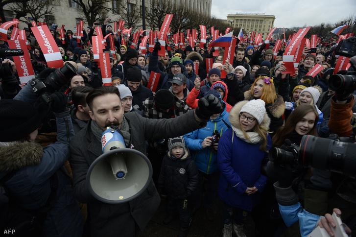 Navalnij mellett tüntetők Moszkvában 2018. január 28-án