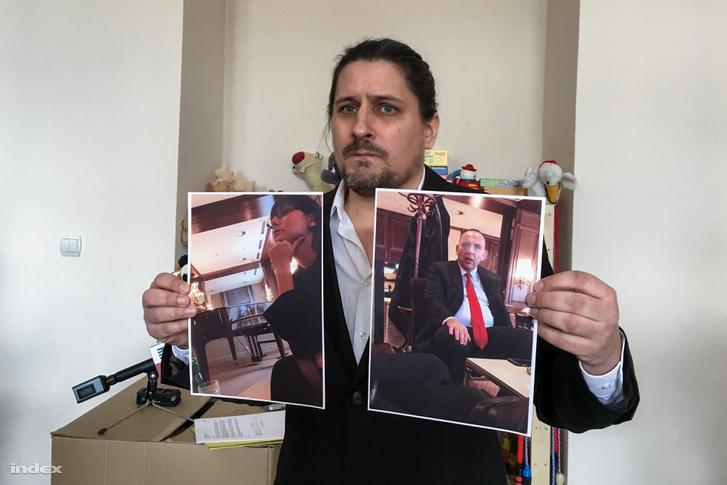 Siewert András mutatja a magántitkosszolgálat embereiről készült képeket