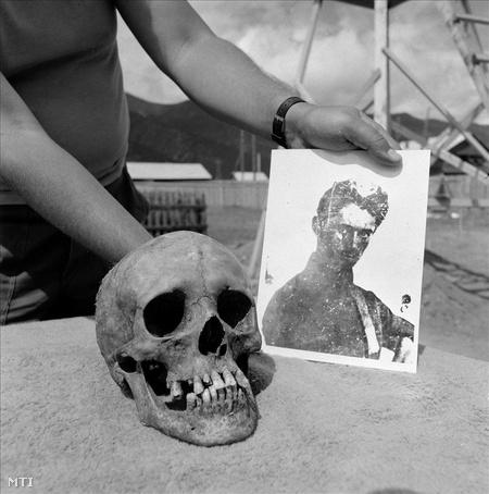 Barguzin, 1989. július 31. Petőfi Sándor feltételezett koponyája és a róla készült egyetlen hiteles fénykép a szibériai barguzini temetőben, a feltárás helyszínén, ahol a Megamorv Petőfi Bizottság korabeli dokumentumok alapján július 16-22 között feltárásokat végzett.