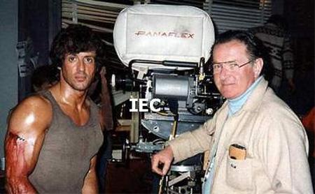 Sylvester Stallonéval a Rambo forgatásán