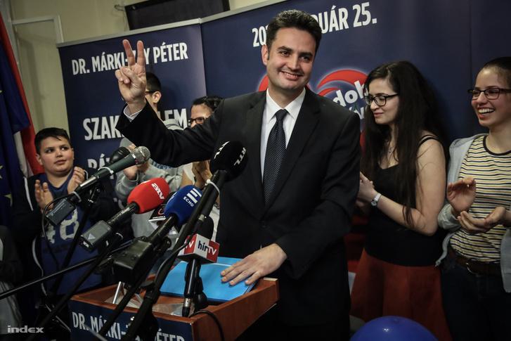 Márki-Zay Péter a hódmezővásárhelyi időközi választás után 2018. február 25-én.