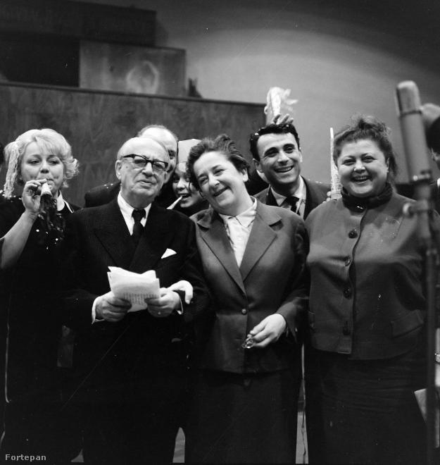 Csala Zsuzsa, Gózon Gyula, Gobbi Hilda és Fónay Márta a Magyar Rádió 1961-es szilveszteri adásának felvételén