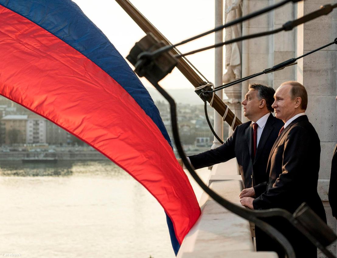 Vlagyimir Putyin és Orbán Viktor a Parlamentben 2015. februárjában