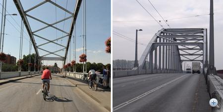 Baloldalt a szegedi, jobb oldalt az arnhemi híd
