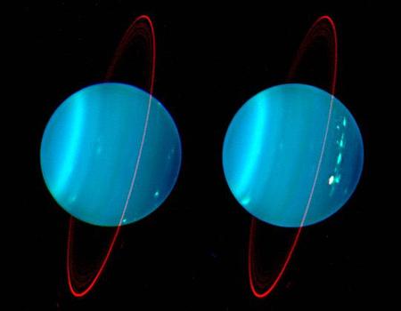 Az Uránusz bolygó és halvány gyűrűrendszere a közeli infravörös tartományban.[Lawrence Sromovsky (University of Wisconsin), Keck Observatory]
