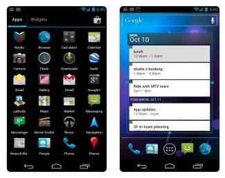 Jobb oldalon: külön lapon a programok és a widgetek.Bal oldalon: átméretezhetők a widgetek