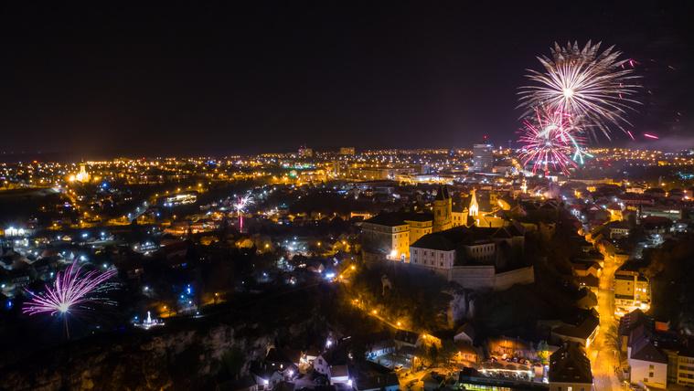 Szilveszter Veszprémben, 2018. december 31-én, egy drónfelvételen