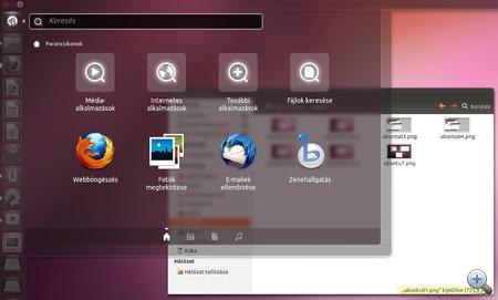 Az Ubuntu Linux áttetsző start menüje