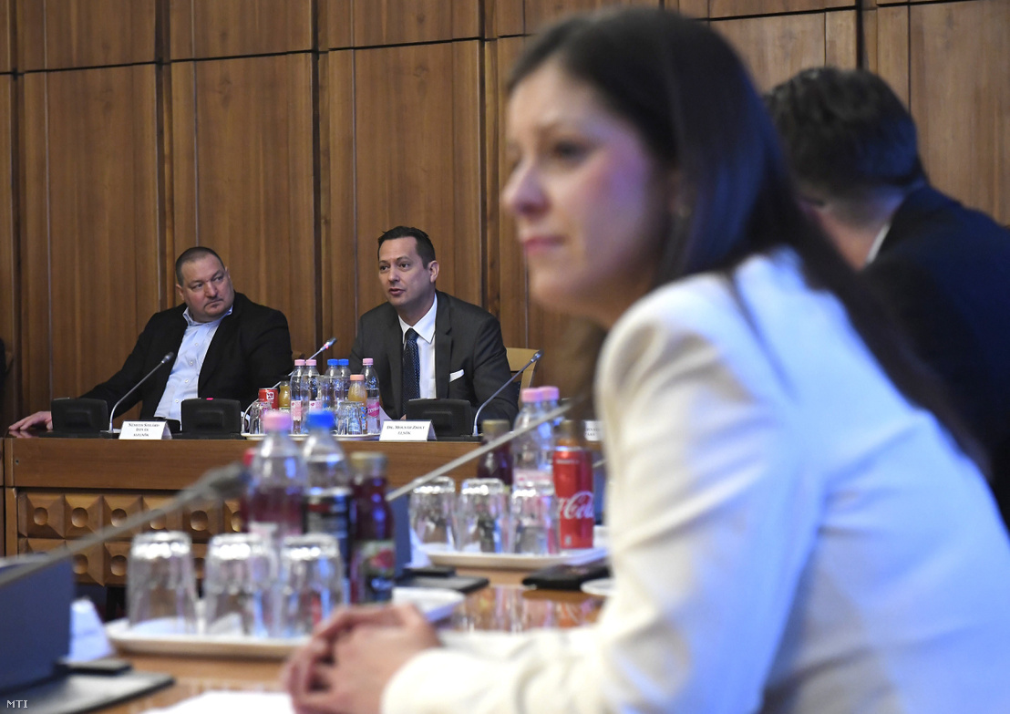 Szilárd Németh VP (Fidesz) and Zsolt Molnár (MSZP) president of the National Security Committee at a committee meeting with Bernadett Szél in the foreground on 25 January 2018