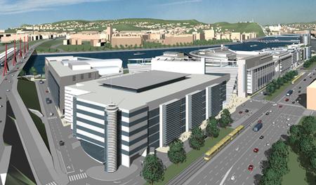 A 10 évvel ezelőtti terven a balról 2. Soroksári úti épület a konferenciaközpont, de már csak a balról első épület helye üres