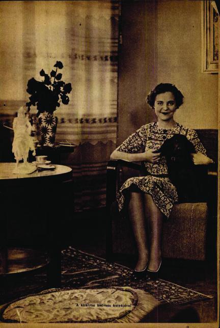 """A királyné kedvenc kutyájával a Színházi Élet 1938. áprilisi számában.Apponyi grófkisasszony tizenhét évesen a pesti bálok kedvence volt, akkoriban már """"a magyar elegancia és az amerikai glamour különleges egyvelege.""""  De az albán trónig vezető út (akárcsak a korabeli ponyvakirálynő, Hedwig Courths-Mahler legjobb regényeiben) anyagi csőddel, emigrációval, árvasággal, családi viszályokkal volt kikövezve. Az Apponyi család hadikölcsönbe fektetett pénze elúszott, a Tanácsköztársaságot és a Horthy-korszak első éveit Svájcban és Olaszországban töltötték, majd amikor visszatértek Budapestre, apja hamarosan meghalt. Anyja Franciaországban újra férjhez ment, Geraldine-t magyar nagyanyja és rokonai nevelték."""
