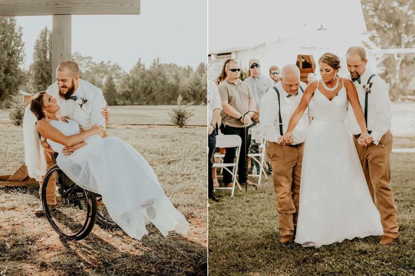 3 év után esküvőjén állt fel a kerekesszékes menyasszony - Megható képeken, ahogyan szerelméhez kísérik
