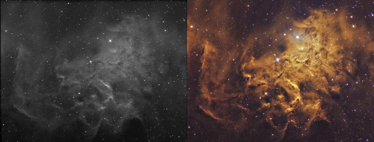 Hogyan készül egy mélyégi asztrofotó? Ez a képpár némi betekintést enged a munkafolyamatba. Bal oldalon egy pár órás éjszakai expozíció szürkeskálás részeredménye látható, míg jobbra 28 órányi expozíció eredménye, utómunka után.