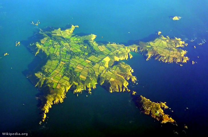Sark szigete légi felvételen