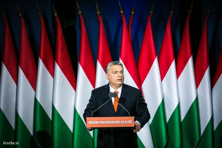 Orbán Viktor tartja évértékelő beszédét 2018. február 18-án a budapesti Várkert Bazárban.