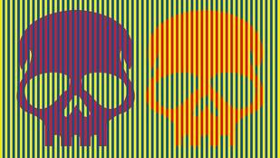 Lila és narancssárga koponyákat látsz a képen? Pedig mindkettő piros!