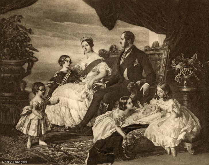 Viktória királynő, Albert herceg és gyermekeik az 1800-as években, a képet 1907-ben publikálták a 'Viktória királynő levelei 1854-1861 III' című könyvben