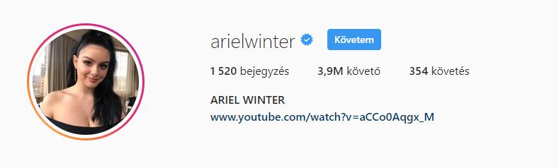 Azon pedig, hogy a Modern családból ismert Ariel Winternek csak 3,9 millió követője van, kisebb sokkot kaptunk.