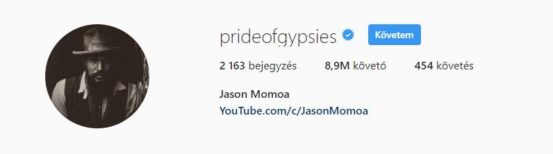 Jason Momoa az elmúlt évek egyik legsikeresebb sorozatának szereplője volt, egyre felkapottabb színész és a legszexibb élő férfiak egyike, még sincs annyi követője, mint a Victoria's Secret magyar modelljének.