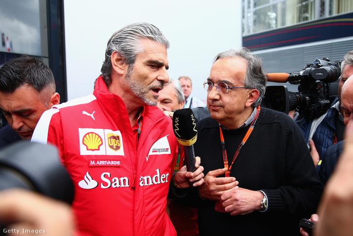 A Ferrari-csapatfőnök Arrivabene és a Ferrari-elnök Marchionne 2015-ben