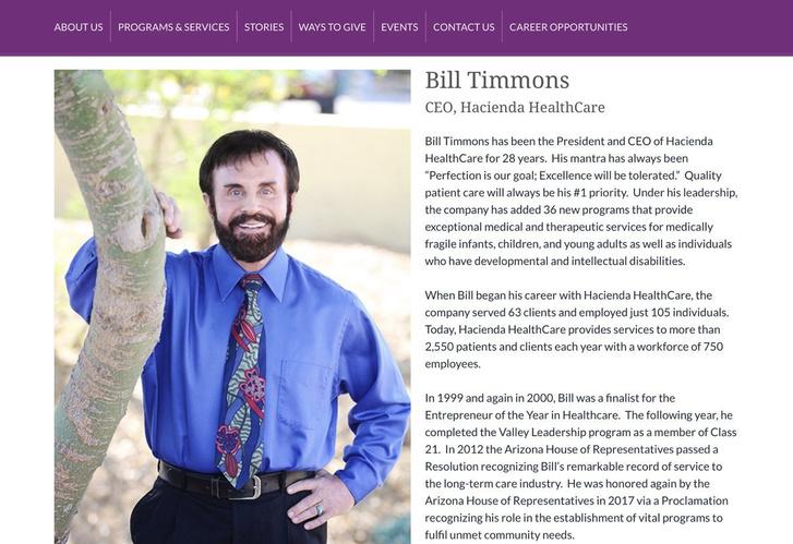Bill Timons a Hacienda elnök-vezérigazgatójának bemutatkozása az intézmény honlapján (az oldal jelenleg nem elérhető)