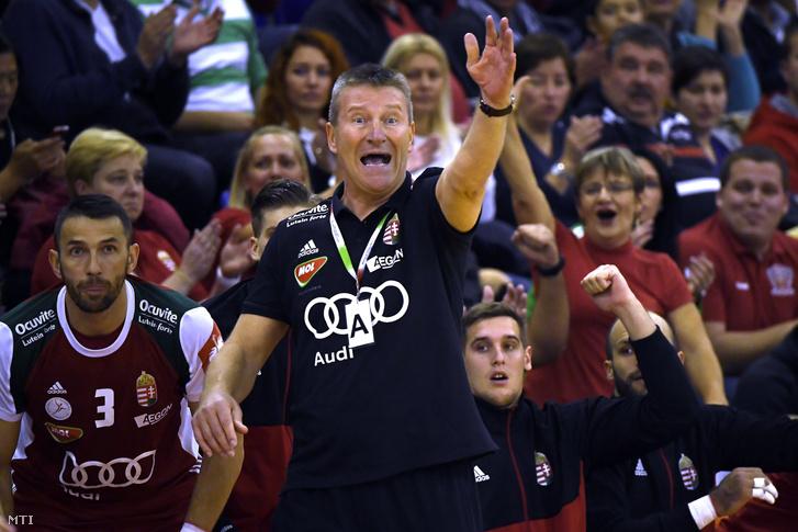 Csoknyai István szövetségi kapitány a Magyarország - Szlovákia férfi kézilabda Európa-bajnoki selejtező mérkőzésen az Érd Arénában 2018. október 24-én.