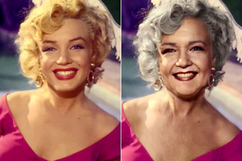 A jobb oldali képen Photoshoppal öregítettek Marilyn Monroe-n.
