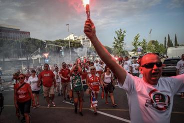 Magyar szurkolók a Magyarország - Szlovénia mérkőzésen 2018. június 13-án