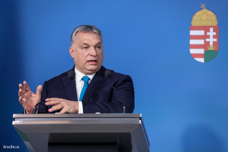 Orbán Viktor miniszterelnök a Kormányinfó sajtótájékoztatón