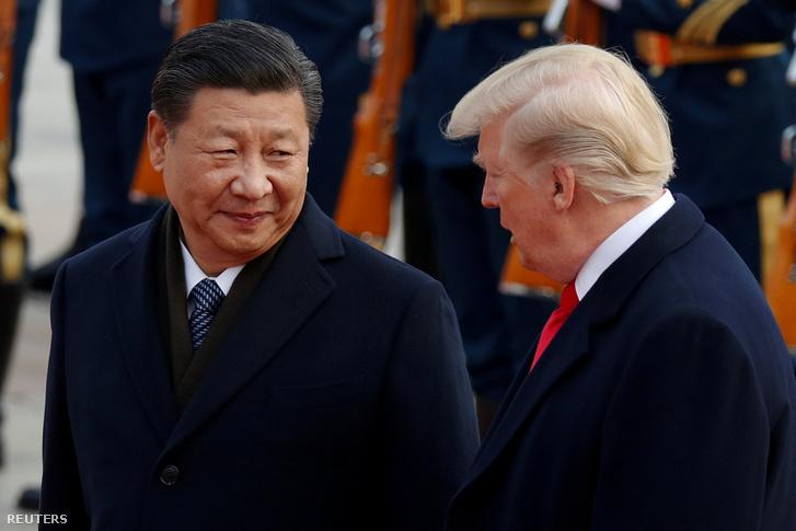 Hszi Csin-ping és Donald Trump Pekingben 2017. november 9-én