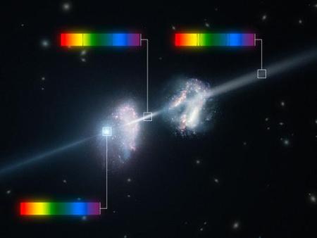 Fantáziarajz a GRB 090323 jelű gammavillanásról, illetve a fényének áthaladásáról a két galaxison. Az ezekben található hideg gáz által okozott abszorpciós vonalak árulkodnak a fiatal galaxisok szokatlanul magas nehézelem-tartalmáról. [ESO/L. Calçada]