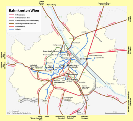 Bécs pályaudvarai, nagyításért katt a képre (forrás: Wikipédia)