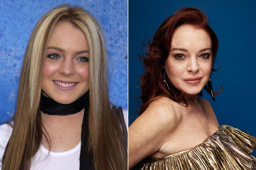 Lindsay Lohan 2003-ban és 2018-ban.