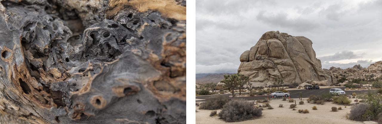 Balra: villámcsapástól elszenesedett fa. Jobbra: kulturált parkolóhely.