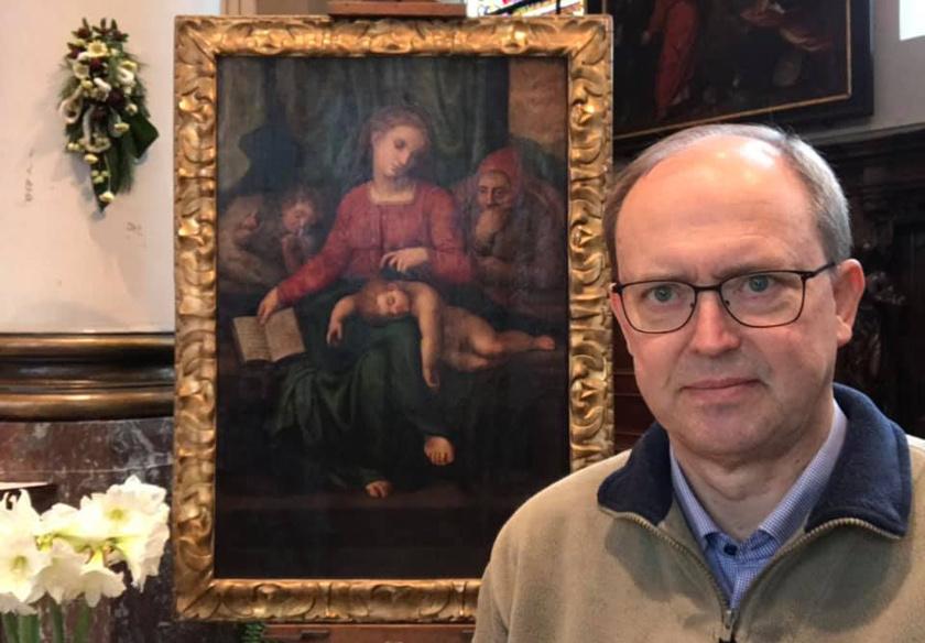 Jan Van Raemdonck a festménnyel.