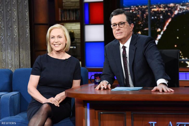 Kirsten Gillibrand a Late Show-ban, Stephen Colbert-tel, ahol bejelentette hogy 2020-ban indul az elnökjelöltségért