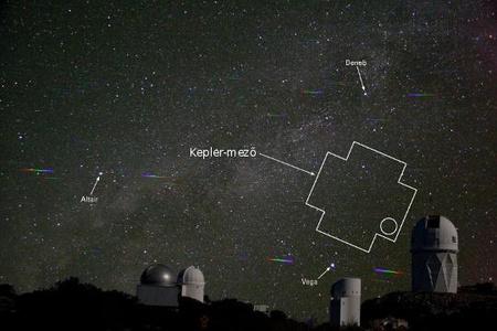 A montázson a Kepler-mező látható a Kitt Peak National Observatory távcsövei felett. A Kepler-21b központi csillagának közelítő pozícióját kör jelzi. Az obszervatórium és az égbolt felvétele külön-külön készült, utóbbi egy diffrakciós rács alkalmazásával, így a fényesebb csillagok színképe is megfigyelhető. A 4 méteres Mayall-teleszkóp és a WIYN távcső fontos szerepet játszott a Kepler-21b létezésének megerősítésében.
