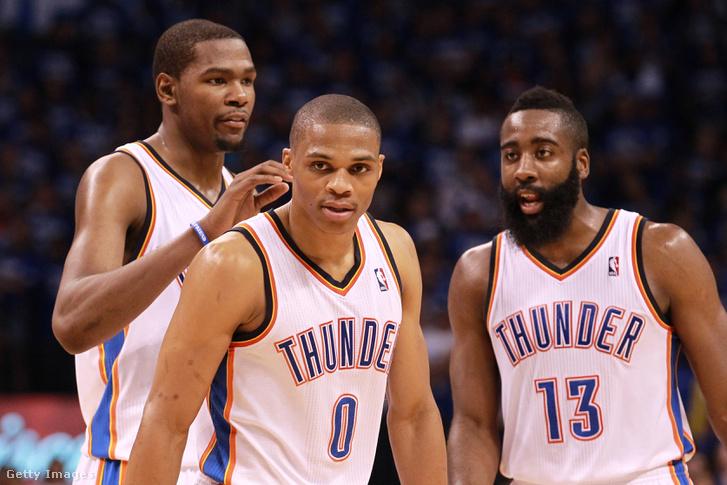 Kevin Durant, Russell Westbrook és James Harden 2012-ben