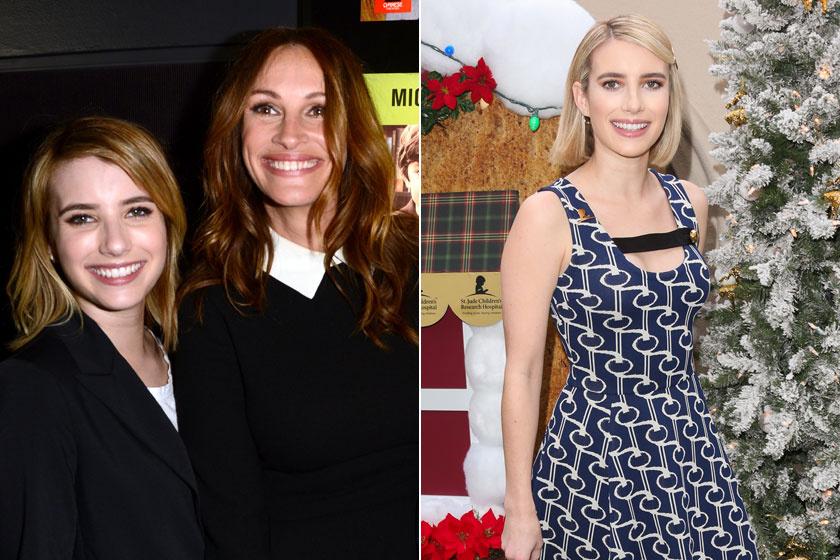 Emma Roberts 2012-ben és 2018 végén.