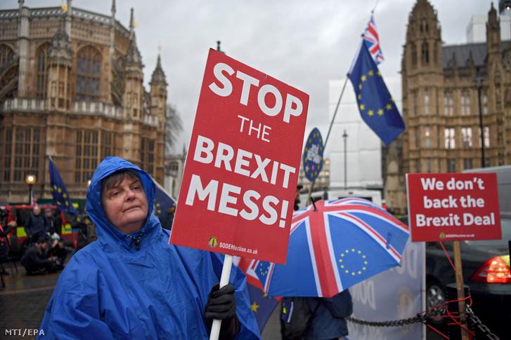 A brexitet ellenzők tüntetnek a londoni parlament előtt 2019. január 16-án.