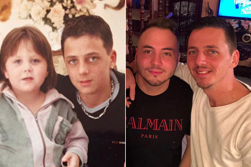Zámbó Adrián és Sebastian gyerekkorukban és napjainkban.