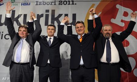 Zoran Milanović (balról a 2.) és koalíciós partnerei ünnepelhettek