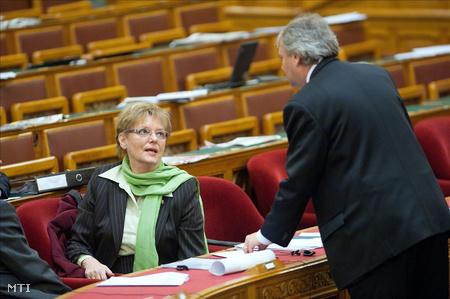 Budapest, 2011. december 1. Hoffmann Rózsa, a Nemzeti Erőforrás Minisztérium oktatásért felelős államtitkára és Hiller István szocialista képviselő beszélget az Országgyűlés plenáris ülésen a nemzeti felsőoktatási törvény általános vitája alatt.